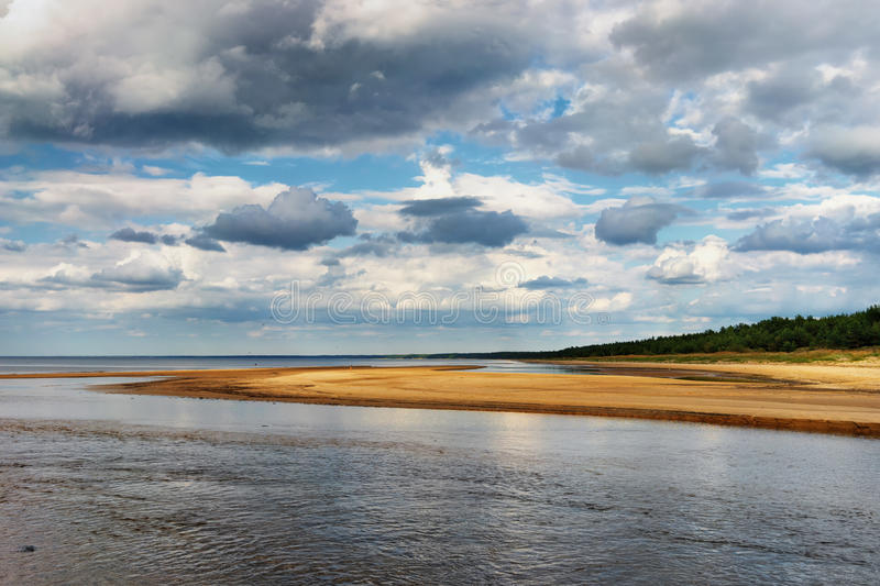 The horizon line on the beach of the Baltic Sea. Horizon line between the blue sky with clouds and yellow sandy beach of the Baltic Sea with strips of green wood royalty free stock photo