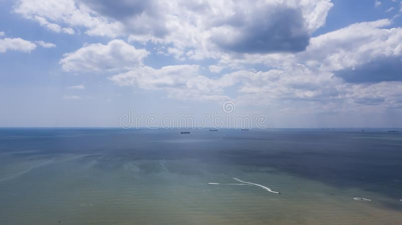 Horizon Line Between Blue Sea Water and Blue Sky.  royalty free stock image
