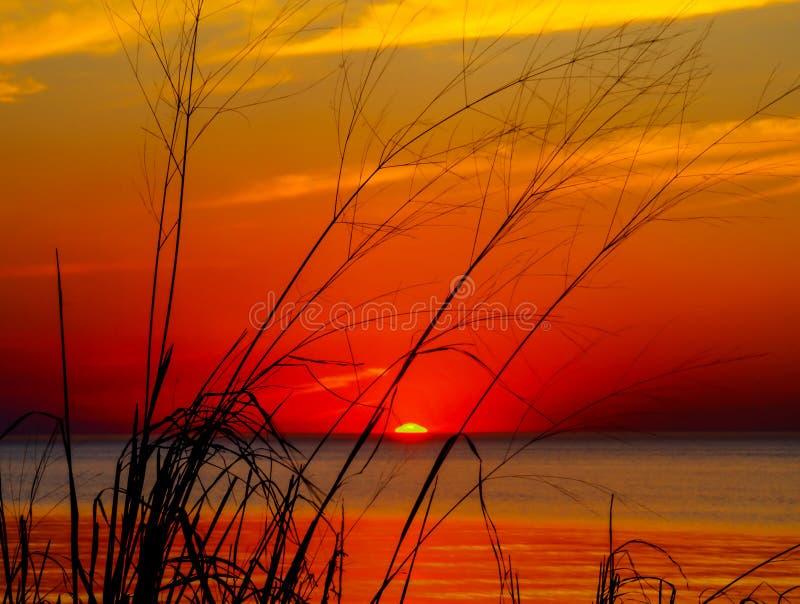 Horizon Line. Headlands Beach sunset, Mentor, Ohio royalty free stock photos