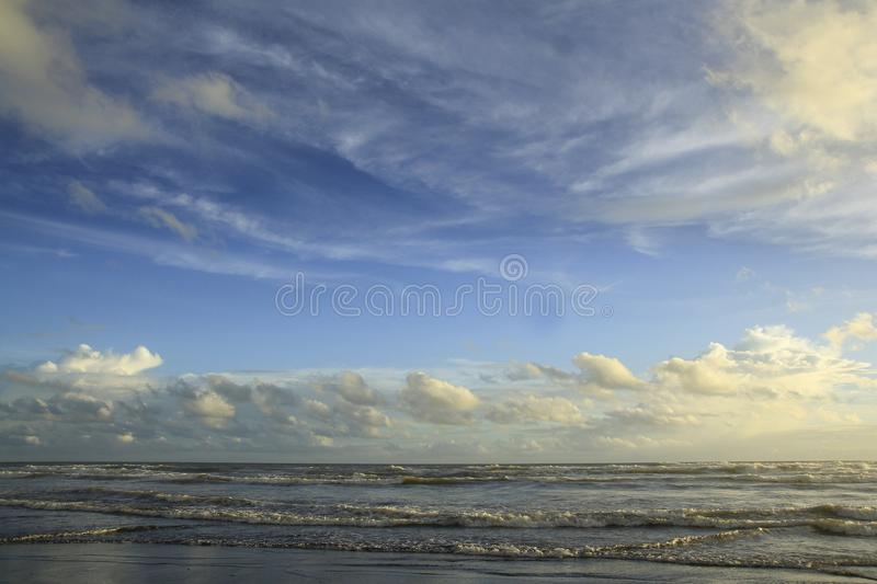 Horizon Line Offshore. With views of blue sky and waves stock photography