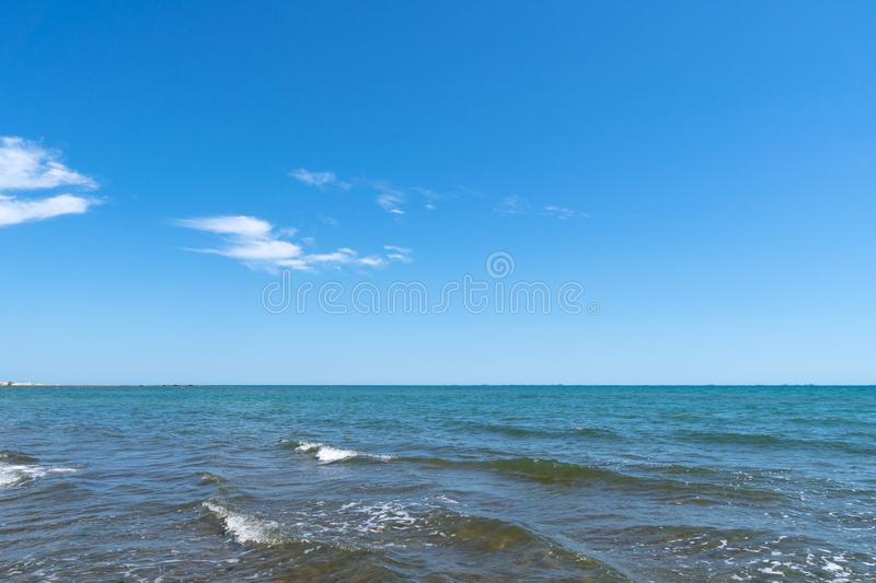 Horizon line over blue sea. Horizon line over the blue sea stock photo