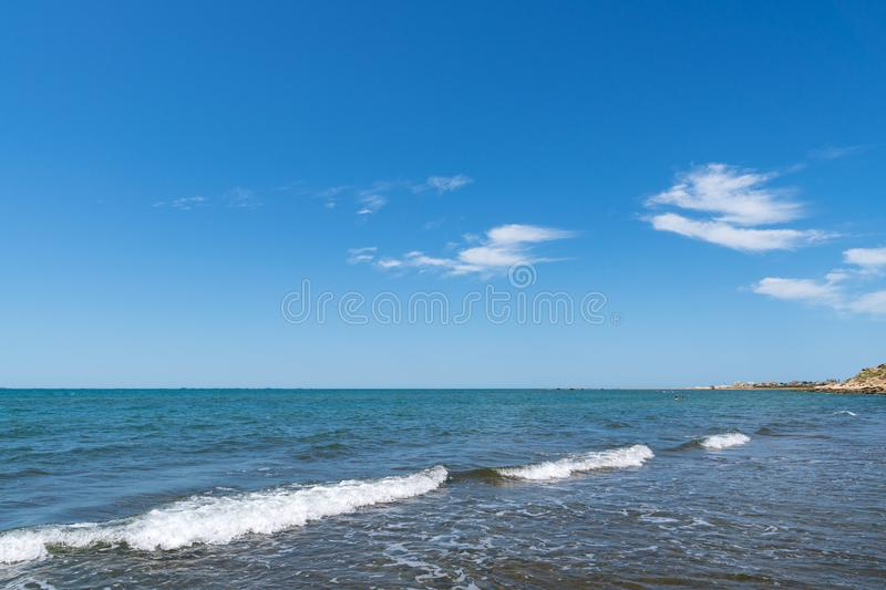 Horizon line over the blue sea. Scenery stock photos