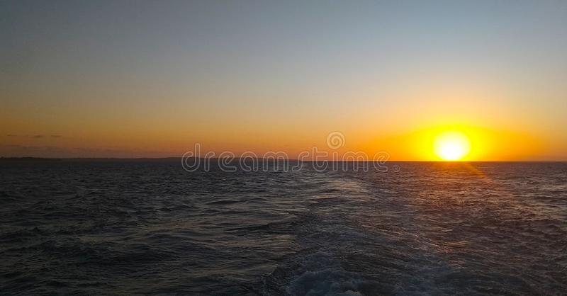 Sunset in Horizon. Horizon line separate sea and sky on thr sunset day stock image
