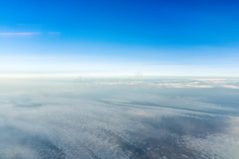 Horizon line view from the aircraft.  stock photos