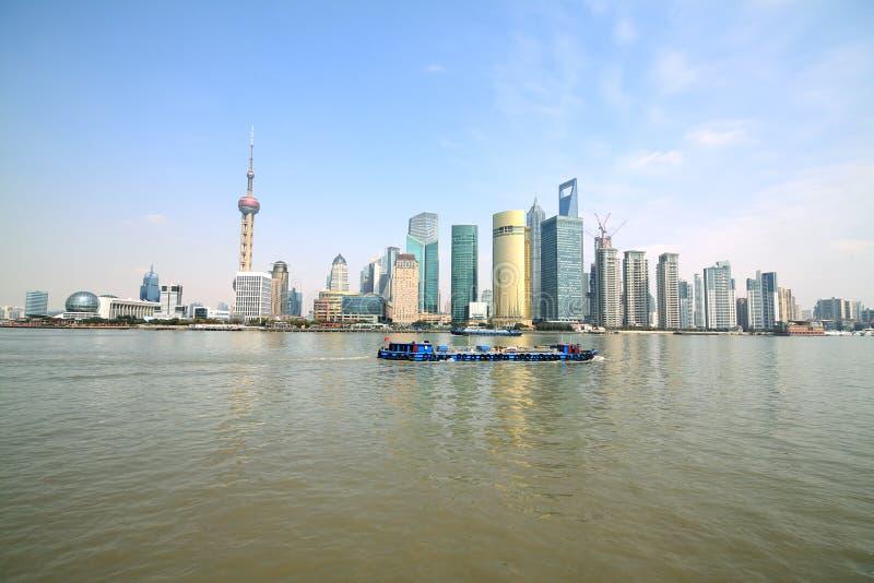 Horizon moderne de paysage urbain de l'architecture de Changhaï en Extrême Orient photo stock