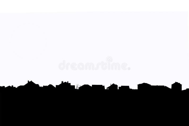 Horizon noir avec des toits des maisons résidentielles d'un village suburbain d'isolement sur un fond blanc illustration stock