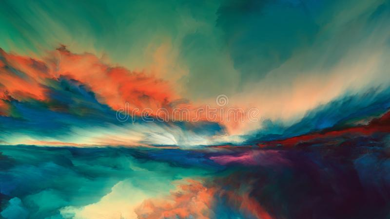 Horizon Paint. Sunsets of Never series. Landscape of virtual paint vector illustration