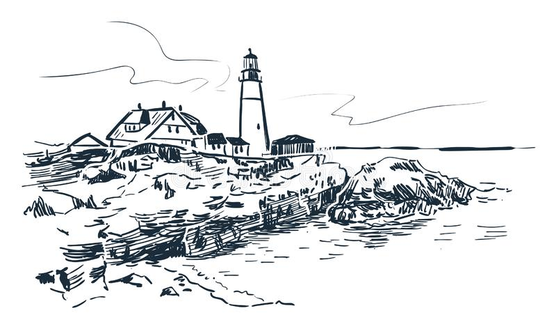 Horizon paysage de croquis de vecteur de phare de Portland d'illustration au trait illustration libre de droits