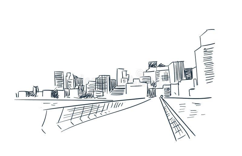 Horizon paysage de croquis de vecteur de ville de San Francisco d'illustration au trait illustration stock