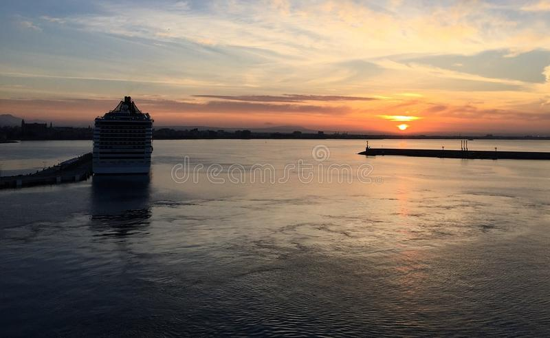 Horizon, Sky, Calm, Sunset stock photography