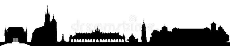 Horizon suspendu de ville de terre Cracovie/Cracovie, Pologne dans le noir sur le fond blanc illustration libre de droits