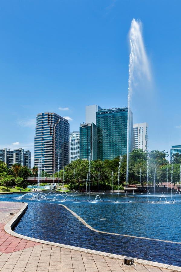 Horizon van Centraal Bedrijfsdistrict van Kuala Lumpur, Maleisië stock foto's