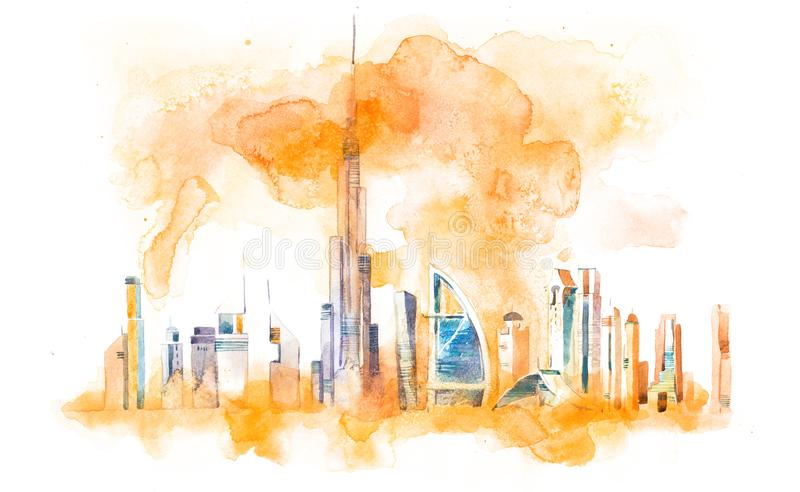 Horizon van Cityscape van Doubai oriëntatiepunthorizon De illustratie van de waterverf royalty-vrije illustratie