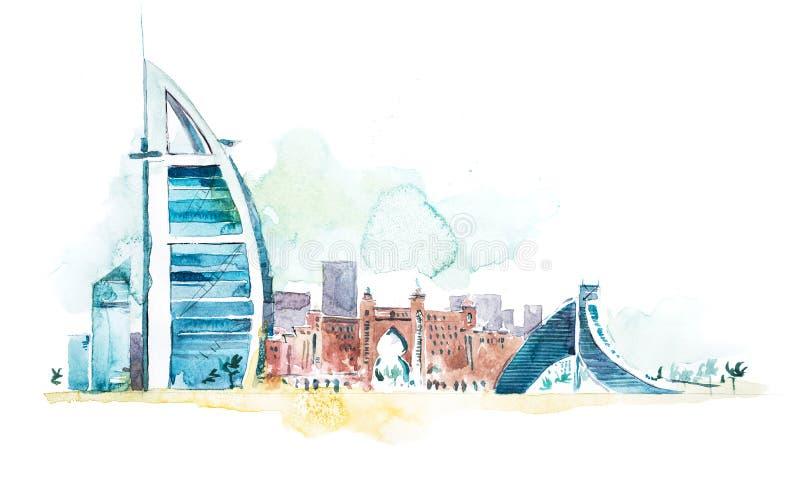 Horizon van Cityscape van Doubai oriëntatiepunthorizon De illustratie van de waterverf vector illustratie