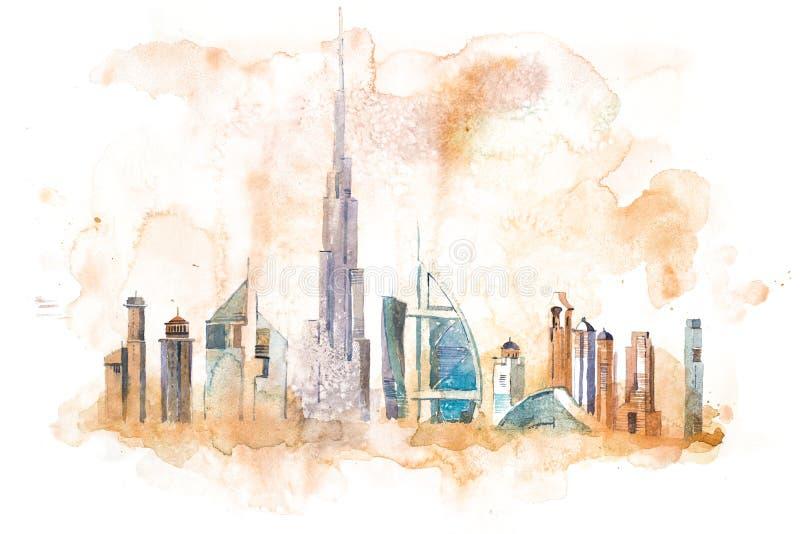 Horizon van Cityscape van Doubai oriëntatiepunthorizon De illustratie van de waterverf stock illustratie