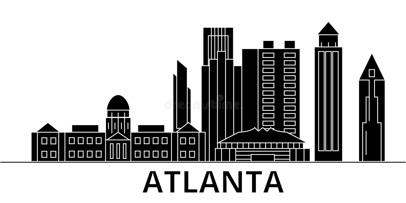 Horizon van de de architectuur isoleerde de vectorstad van Atlanta, reiscityscape met oriëntatiepunten, gebouwen, gezichten op ac royalty-vrije illustratie
