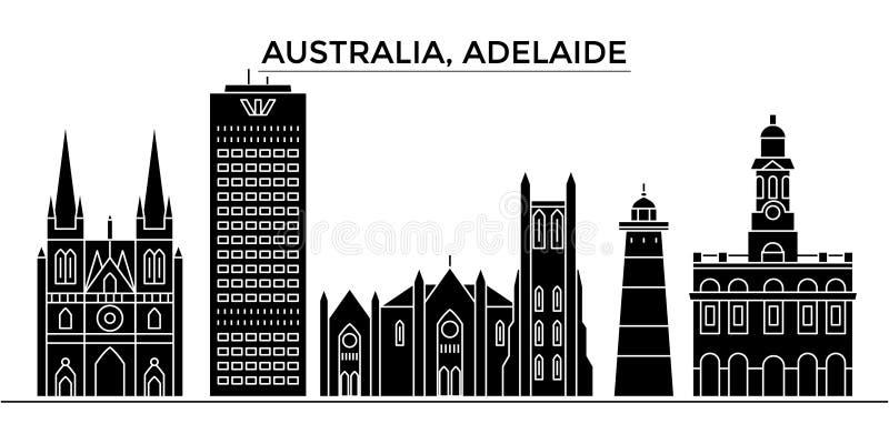 Horizon van de de architectuur isoleerde de vectorstad van Australië, Adelaide, reiscityscape met oriëntatiepunten, gebouwen, gez stock illustratie