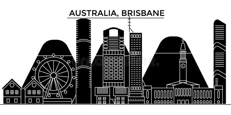 Horizon van de de architectuur isoleerde de vectorstad van Australië, Brisbane, reiscityscape met oriëntatiepunten, gebouwen, gez vector illustratie