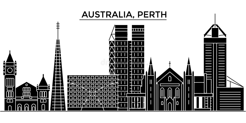 Horizon van de de architectuur isoleerde de vectorstad van Australië, Perth, reiscityscape met oriëntatiepunten, gebouwen, gezich royalty-vrije illustratie