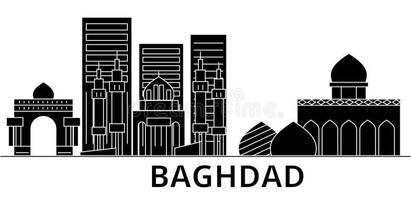 Horizon van de de architectuur isoleerde de vectorstad van Bagdad, reiscityscape met oriëntatiepunten, gebouwen, gezichten op ach vector illustratie