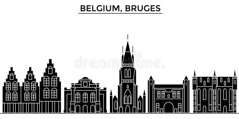 Horizon van de de architectuur isoleerde de vectorstad van België, Brugge, reiscityscape met oriëntatiepunten, gebouwen, gezichte stock illustratie