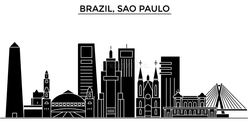 Horizon van de de architectuur isoleerde de vectorstad van Brazilië, Sao Paulo, reiscityscape met oriëntatiepunten, gebouwen, gez royalty-vrije illustratie