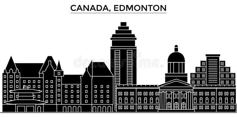 Horizon van de de architectuur isoleerde de vectorstad van Canada, Edmonton, reiscityscape met oriëntatiepunten, gebouwen, gezich vector illustratie