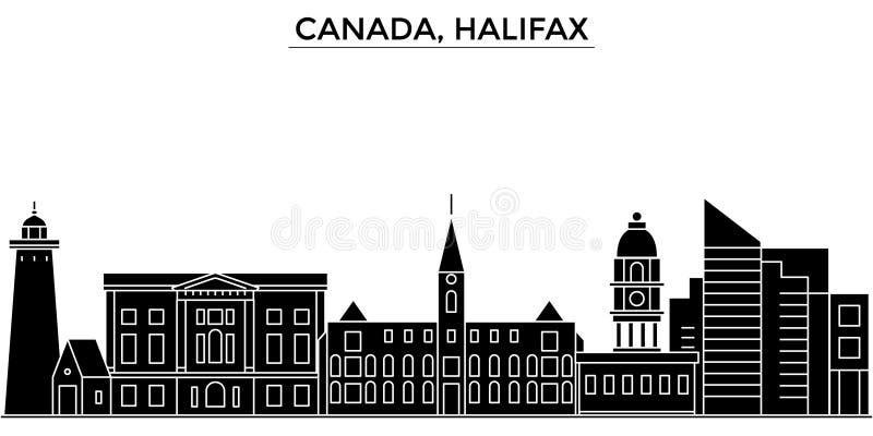 Horizon van de de architectuur isoleerde de vectorstad van Canada, Halifax, reiscityscape met oriëntatiepunten, gebouwen, gezicht stock illustratie