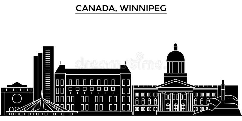 Horizon van de de architectuur isoleerde de vectorstad van Canada, Winnipeg, reiscityscape met oriëntatiepunten, gebouwen, gezich vector illustratie