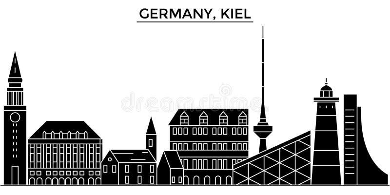 Horizon van de de architectuur isoleerde de vectorstad van Duitsland, Kiel, reiscityscape met oriëntatiepunten, gebouwen, gezicht stock illustratie