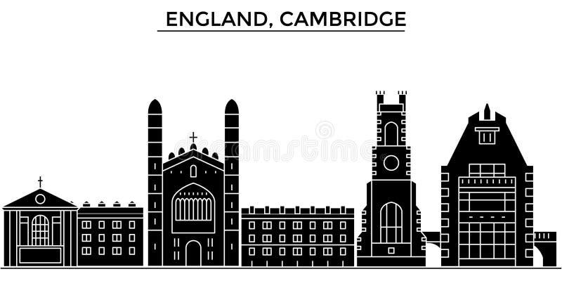 Horizon van de de architectuur isoleerde de vectorstad van Engeland, Cambridge, reiscityscape met oriëntatiepunten, gebouwen, gez stock illustratie