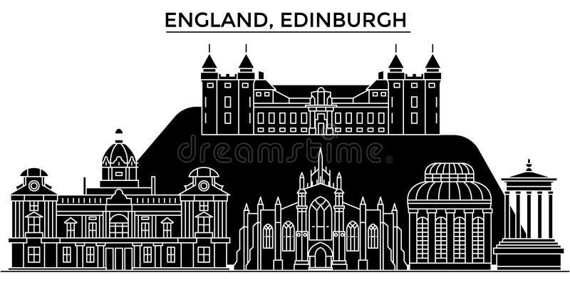 Horizon van de de architectuur isoleerde de vectorstad van Engeland, Edinburgh, reiscityscape met oriëntatiepunten, gebouwen, gez royalty-vrije illustratie