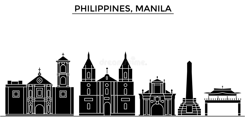 Horizon van de de architectuur isoleerde de vectorstad van Filippijnen, Manilla, reiscityscape met oriëntatiepunten, gebouwen, ge vector illustratie