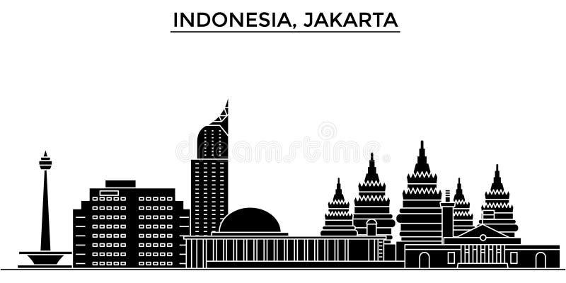 Horizon van de de architectuur isoleerde de vectorstad van Indonesië, Djakarta, reiscityscape met oriëntatiepunten, gebouwen, gez vector illustratie