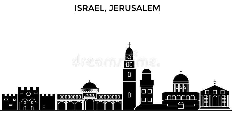 Horizon van de de architectuur isoleerde de vectorstad van Israël, Jeruzalem, reiscityscape met oriëntatiepunten, gebouwen, gezic vector illustratie