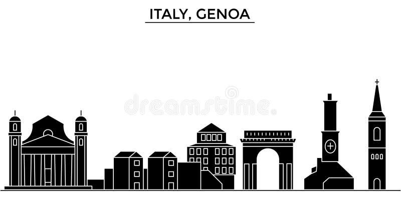Horizon van de de architectuur isoleerde de vectorstad van Italië, Genua, reiscityscape met oriëntatiepunten, gebouwen, gezichten royalty-vrije illustratie