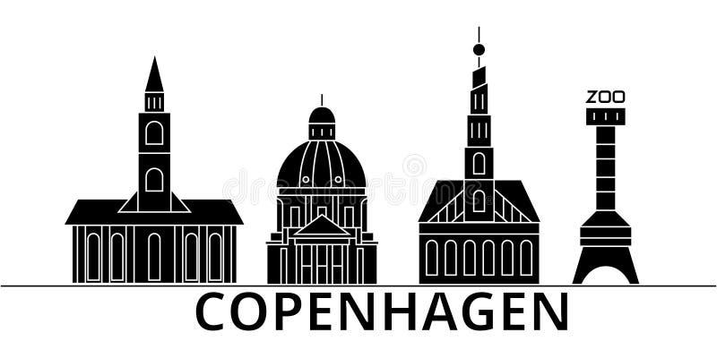 Horizon van de de architectuur isoleerde de vectorstad van Kopenhagen, reiscityscape met oriëntatiepunten, gebouwen, gezichten op royalty-vrije illustratie