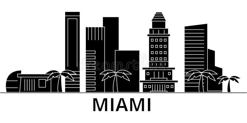 Horizon van de de architectuur isoleerde de vectorstad van Miami, reiscityscape met oriëntatiepunten, gebouwen, gezichten op acht royalty-vrije illustratie