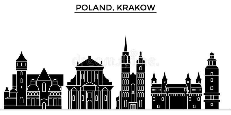 Horizon van de de architectuur isoleerde de vectorstad van Polen, Krakau, reiscityscape met oriëntatiepunten, gebouwen, gezichten stock illustratie