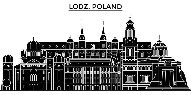 Horizon van de de architectuur isoleerde de vectorstad van Polen, Lodz, reiscityscape met oriëntatiepunten, gebouwen, gezichten o stock illustratie