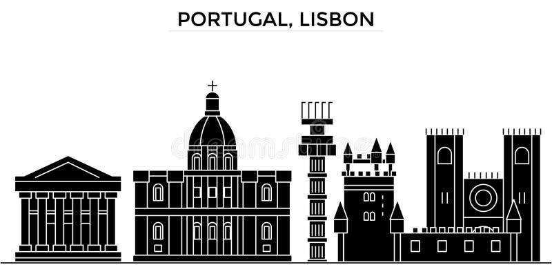 Horizon van de de architectuur isoleerde de vectorstad van Portugal, Lissabon, reiscityscape met oriëntatiepunten, gebouwen, gezi stock illustratie