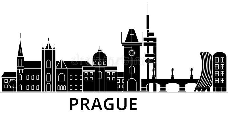 Horizon van de de architectuur isoleerde de vectorstad van Praag, reiscityscape met oriëntatiepunten, gebouwen, gezichten op acht stock illustratie