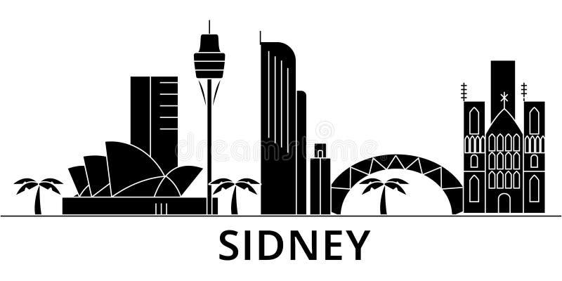 Horizon van de de architectuur isoleerde de vectorstad van Sidney, reiscityscape met oriëntatiepunten, gebouwen, gezichten op ach stock illustratie