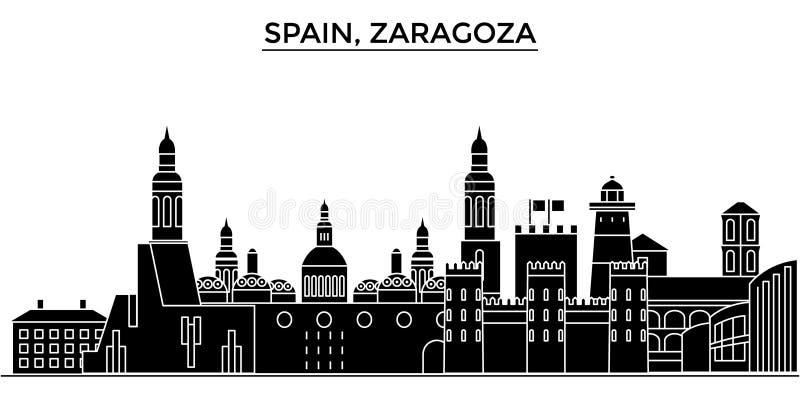 Horizon van de de architectuur isoleerde de vectorstad van Spanje, Zaragoza, reiscityscape met oriëntatiepunten, gebouwen, gezich royalty-vrije illustratie
