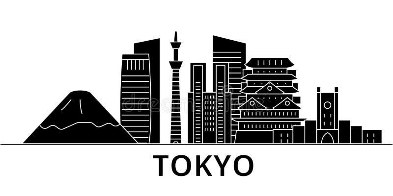 Horizon van de de architectuur isoleerde de vectorstad van Tokyo Japan, reiscityscape met oriëntatiepunten, gebouwen, gezichten o stock illustratie