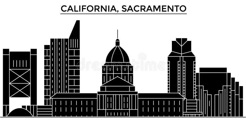 Horizon van de de architectuur isoleerde de vectorstad van de V.S., Californië Sacramento, reiscityscape met oriëntatiepunten, ge royalty-vrije illustratie