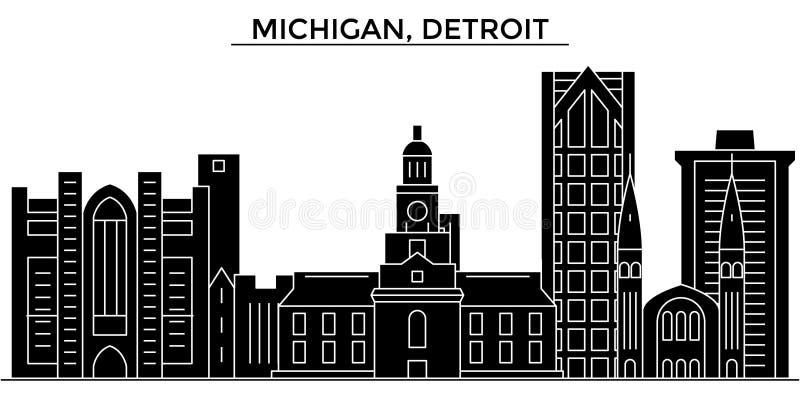 Horizon van de de architectuur isoleerde de vectorstad van de V.S., Michigan, Detroit, reiscityscape met oriëntatiepunten, gebouw stock illustratie