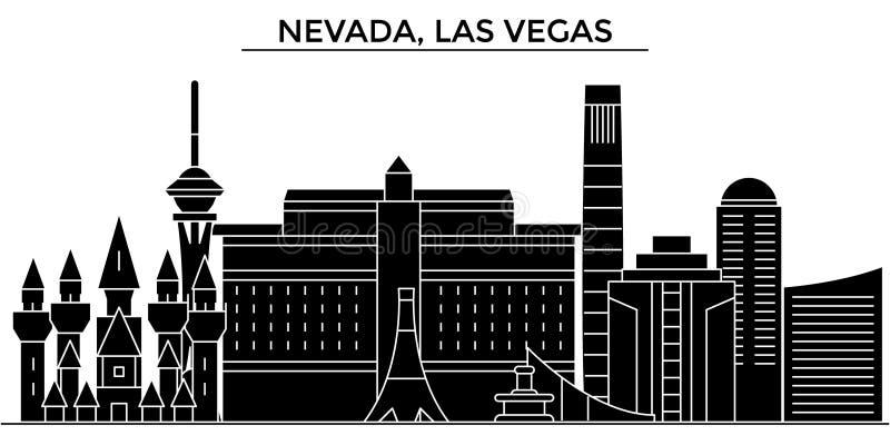 Horizon van de de architectuur isoleerde de vectorstad van de V.S., Nevada, Las Vegas, reiscityscape met oriëntatiepunten, gebouw vector illustratie