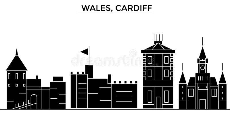 Horizon van de de architectuur isoleerde de vectorstad van Wales, Cardiff, reiscityscape met oriëntatiepunten, gebouwen, gezichte vector illustratie