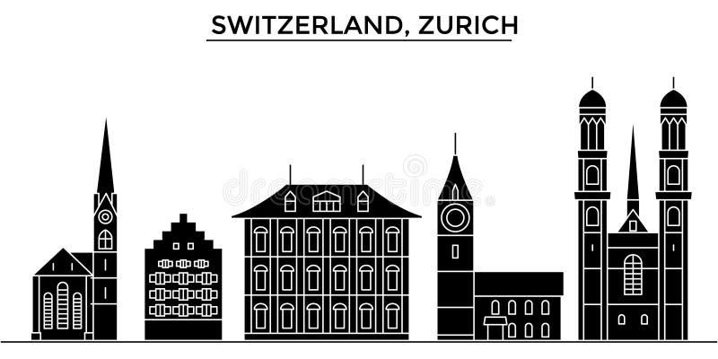 Horizon van de de architectuur isoleerde de vectorstad van Zwitserland, Zürich, reiscityscape met oriëntatiepunten, gebouwen, gez stock illustratie
